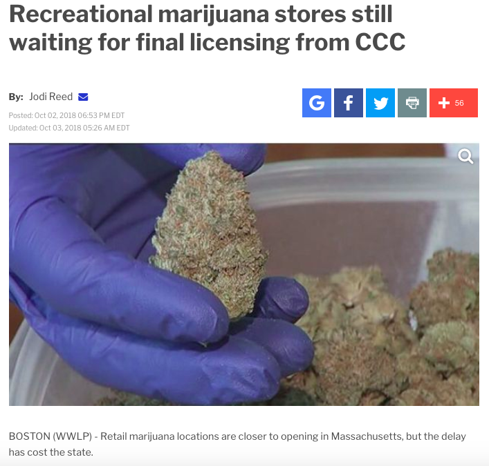 """""""Attorney for cannabis businesses in Massachusetts Blake Mensing told 22News, 'The tax revenue isn't coming because the CCC failed to anticipate that they would need licensed testing labs to get products on the shelves, and that was a failure of foresight in my opinion.'""""   https://www.wwlp.com/news/state-politics/recreational-marijuana-stores-still-waiting-for-final-licensing-from-ccc/1493183742"""