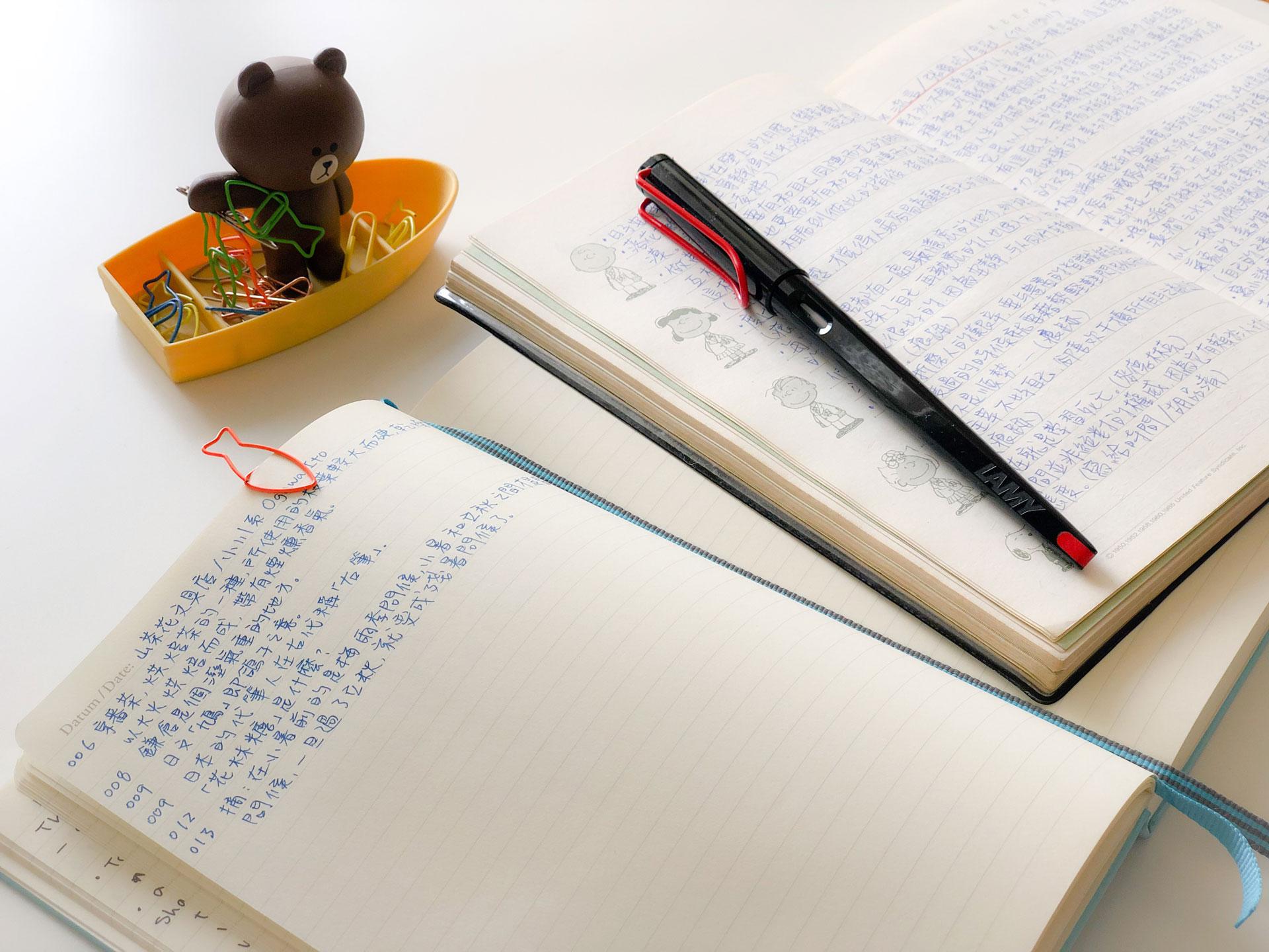 左邊是現在的摘錄筆記,右邊是學生時代的筆記
