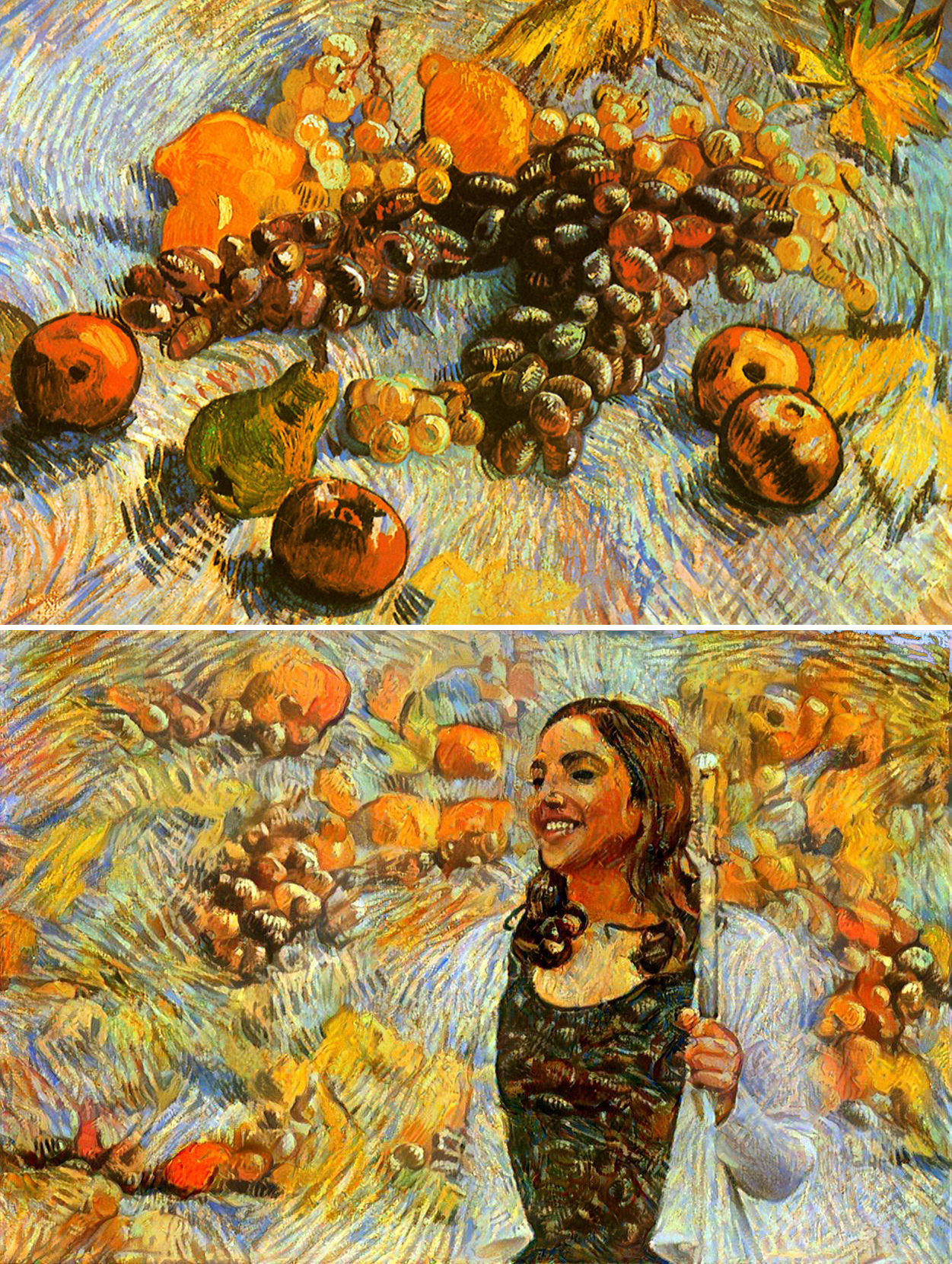 This image (above) was created using artificial intelligence to replicate Van Gogh's style (top). In a world where marvels like this are possible, we must ask 'What is real? What can we believe in? Who can we trust? And where do we fit in the big picture?'