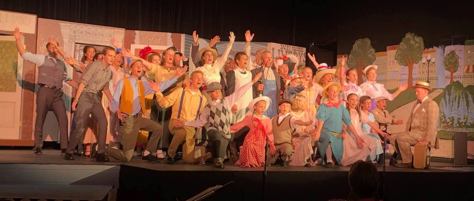 """The cast of """"Music Man"""" at a Center for the Arts in Fergus Falls."""