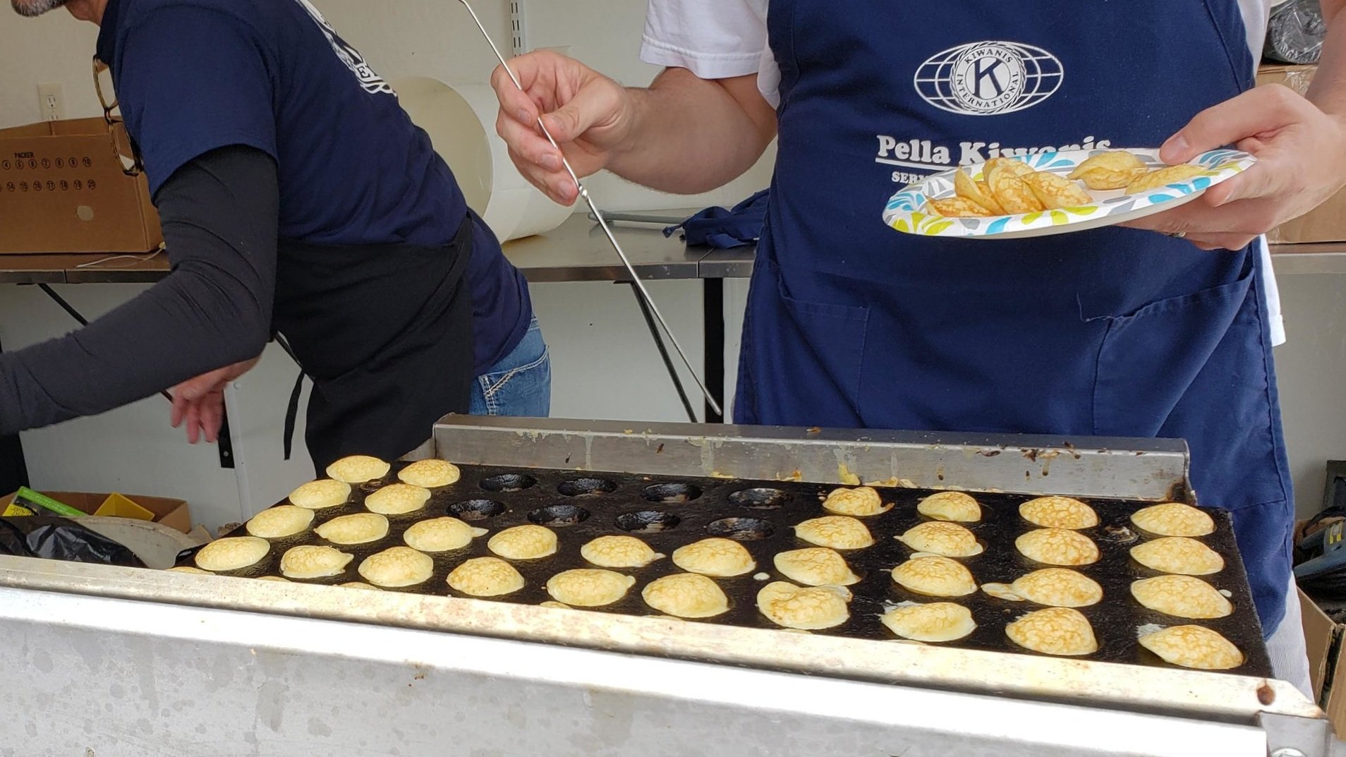 The griddle used to cook the puffs was custom built by a Pella manufacturer.