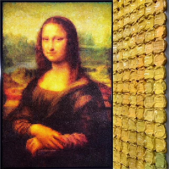 """My newly finished oil painting """"Mona Lisa"""" is the tribute to The 500th anniversary of Da Vinci, the true master of art!  Mona Lisa, oil on canvas, 86' x 55', 2019. The full picture on the left is the painting and the picture on the right is the oil cube details of the painting."""