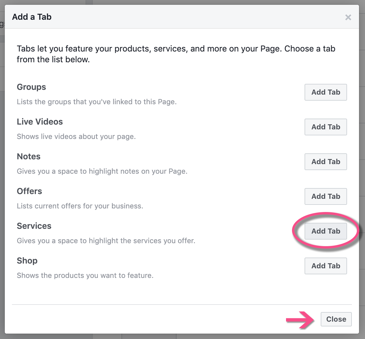 How to set up a Services tab on Facebook