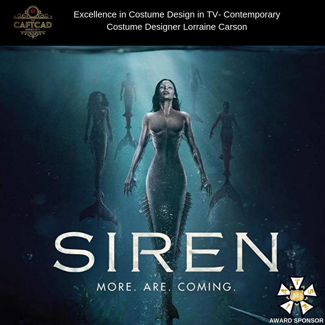 Siren: 101 The Mermaid Discovery - Costume Designer: Lorraine CarsonAssistant Designer: Sharon Templeton, Coordinator: Mary Kimmell, Prep Costumers: Tammy Joe & Rachel Gueguen, Set Supervisor: Kathy Linder, Truck/Set Costumer: Aja Robb