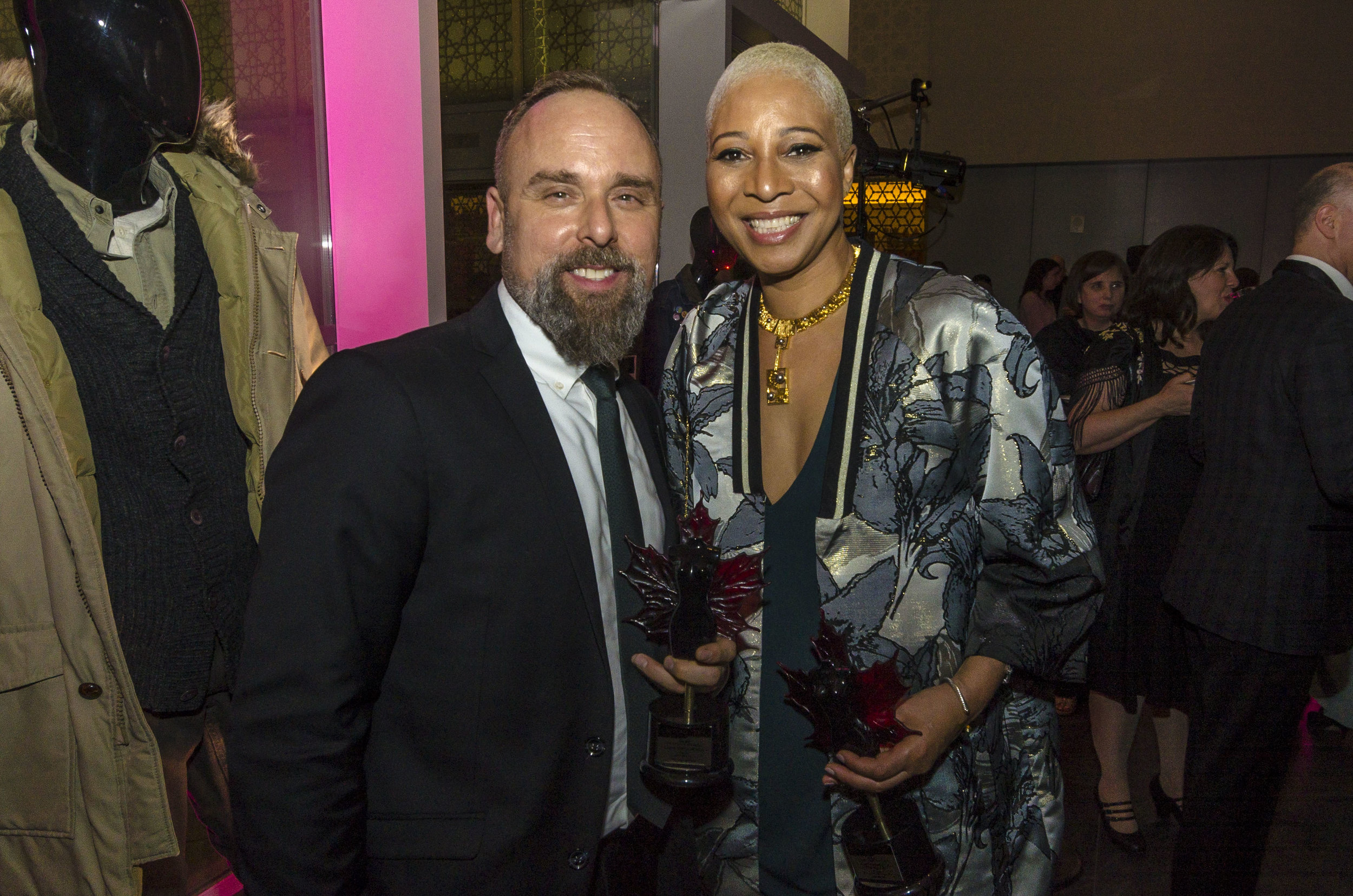 Winners Luis Sequeira (Shape of Water) and Antoinette Messam (Hold the Dark)