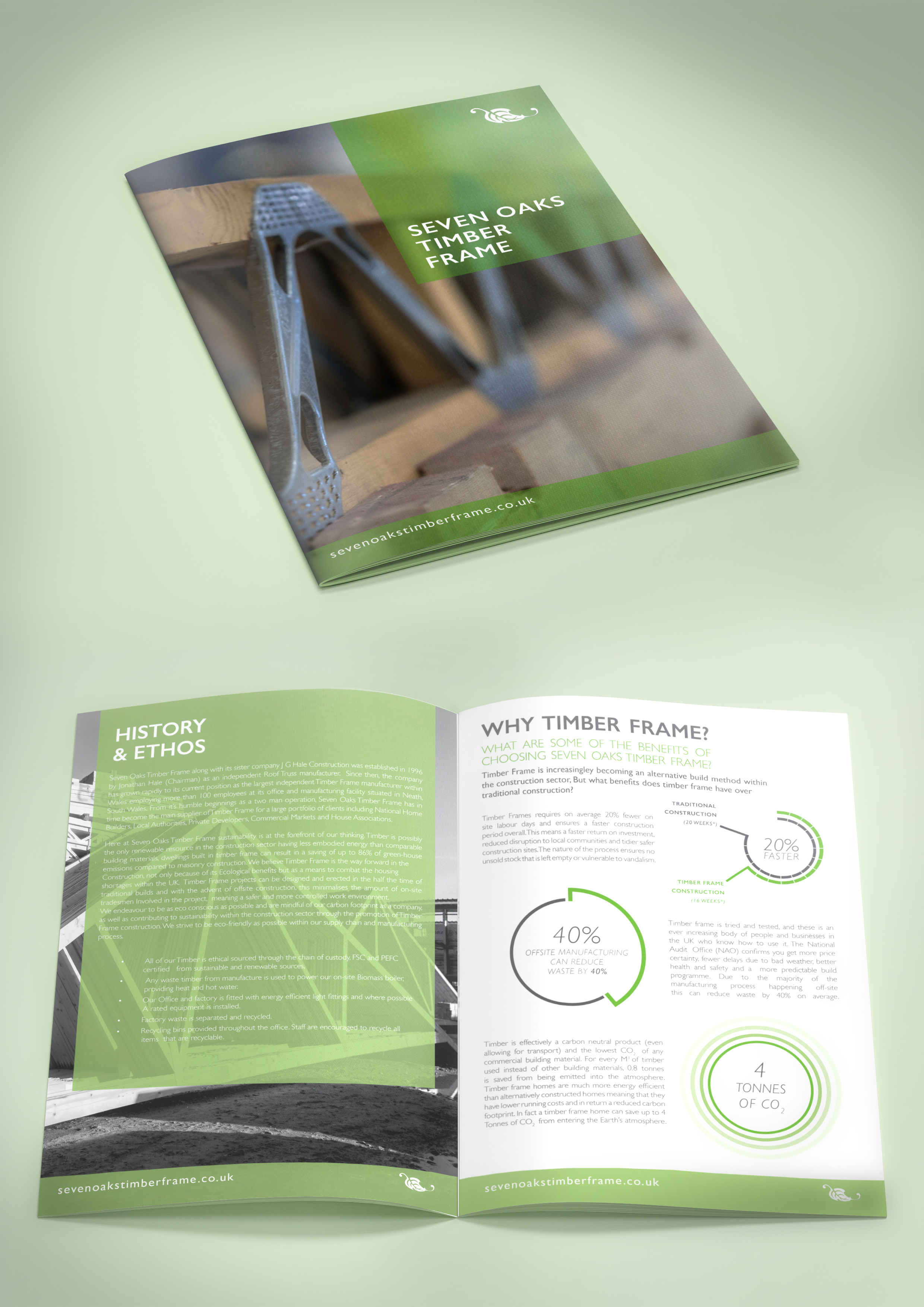 Corporate Brochure mockup with infographic spread