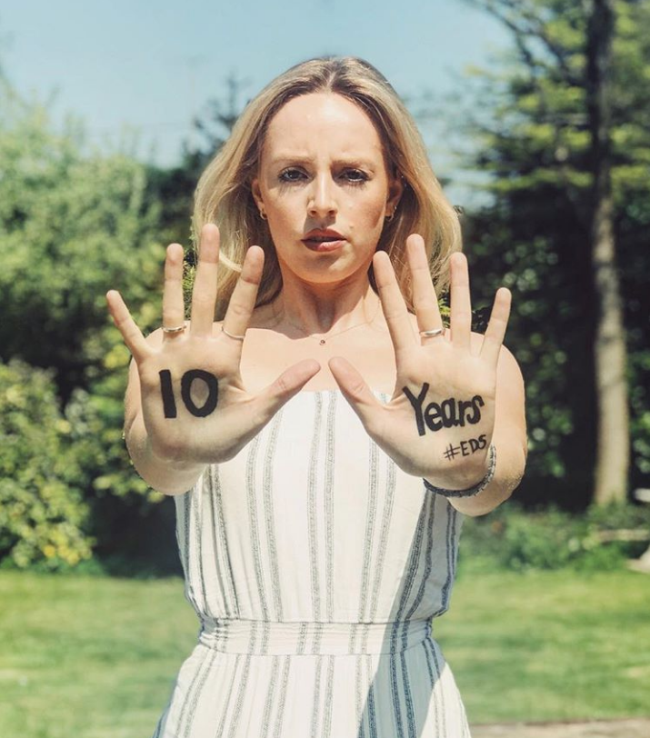 Laura Sylvester, Founder of Mind Body EDS, featuring in her #MyEDSDiagnosis campaign helping spread awareness of EDS.
