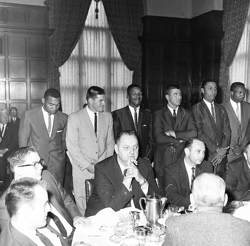 """Left to right at the 1965 """"Meet the Reds"""" luncheon in Cincinnati were Tommy Harper, Pete Rose, Vada Pinson, Don Pavletich, Tony Perez, and Frank Robinson."""