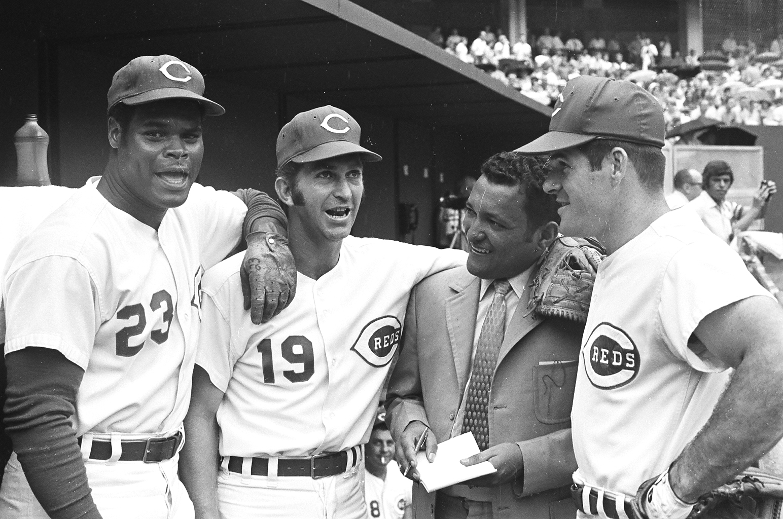 (Left to right): Lee May, Tommy Helms, Pete Rose (far right), 1970 or 1971 regular season, Riverfront Stadium.