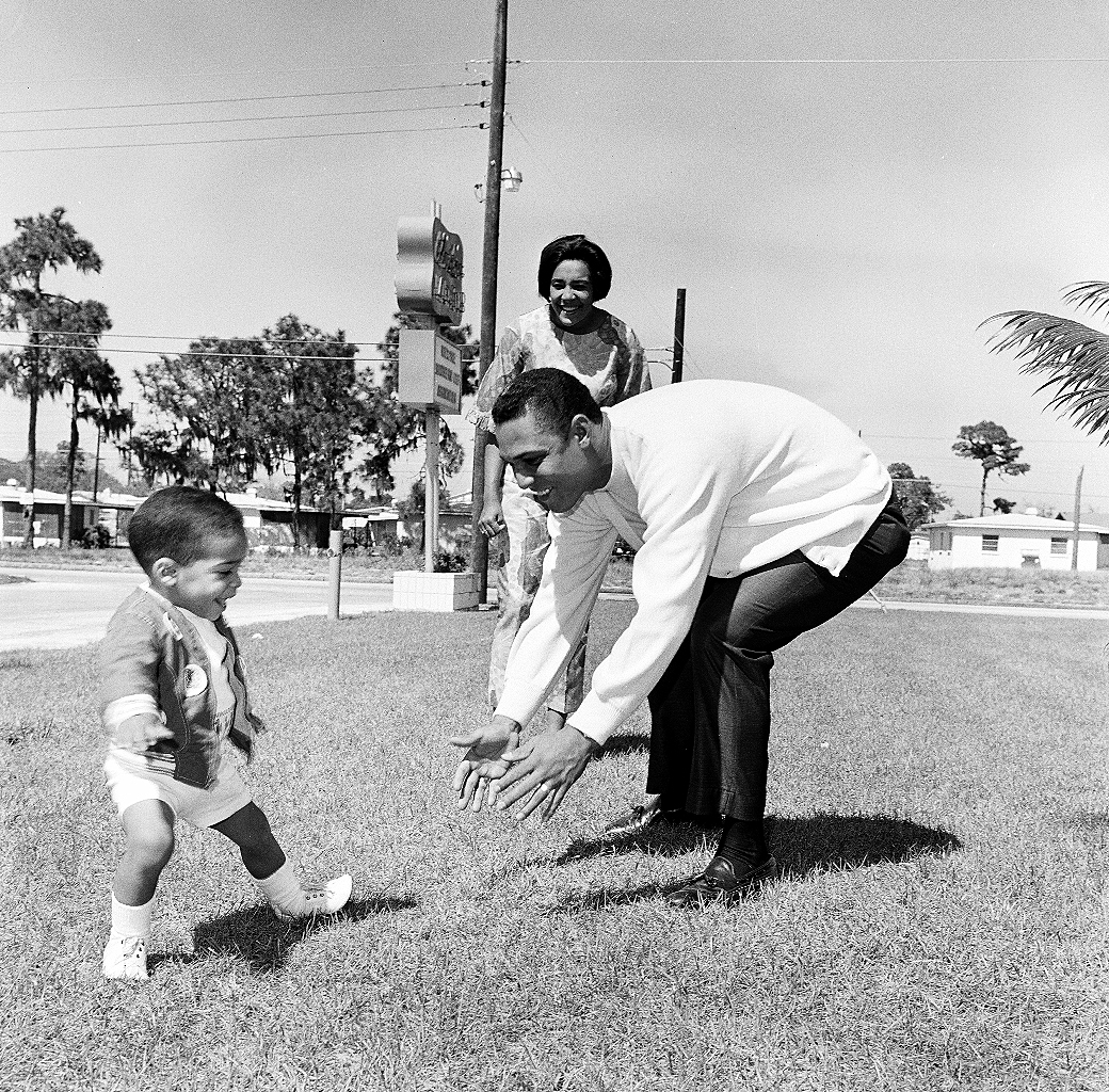 Tony and Pituka take a stroll with Victor, spring training 1967.