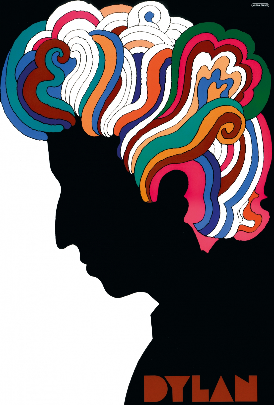 CBS records commissioned Milton Glaser to design a special poster for the album  Bob Dylan's Greatest Hits . Taking inspiration from a  Marcel Duchamp self-portrait , Glaser depicted Dylan in profile, his abundant curly hair rendered in saturated colors that stood out in high contrast from the white ground. The energetic design with its swirling streams of color evokes the visual effects of the psychedelic drugs that were gaining popularity amongst members of the counter culture.