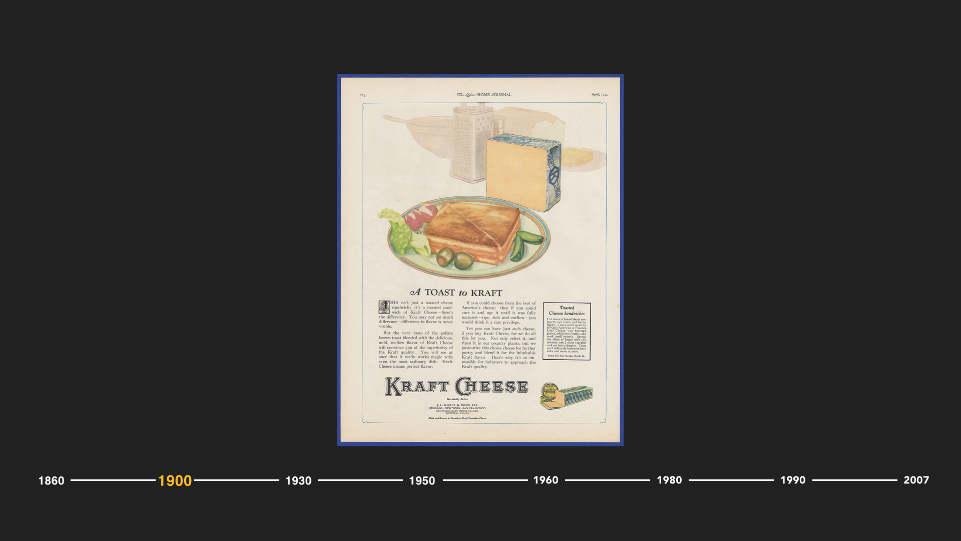 "And it was through continued innovation in the early 20th century that we saw the ingenuity of James L. Kraft, who took a milk-based product and turned it into a long-lasting, easy to slice delight – ""processed cheese"". A sterilized invention that turned Kraft's company into a cheese empire.  The Big Food brands brought forward this method of ""processing"", one that gained traction in an effort to make sure the food we ate did not make us sick."