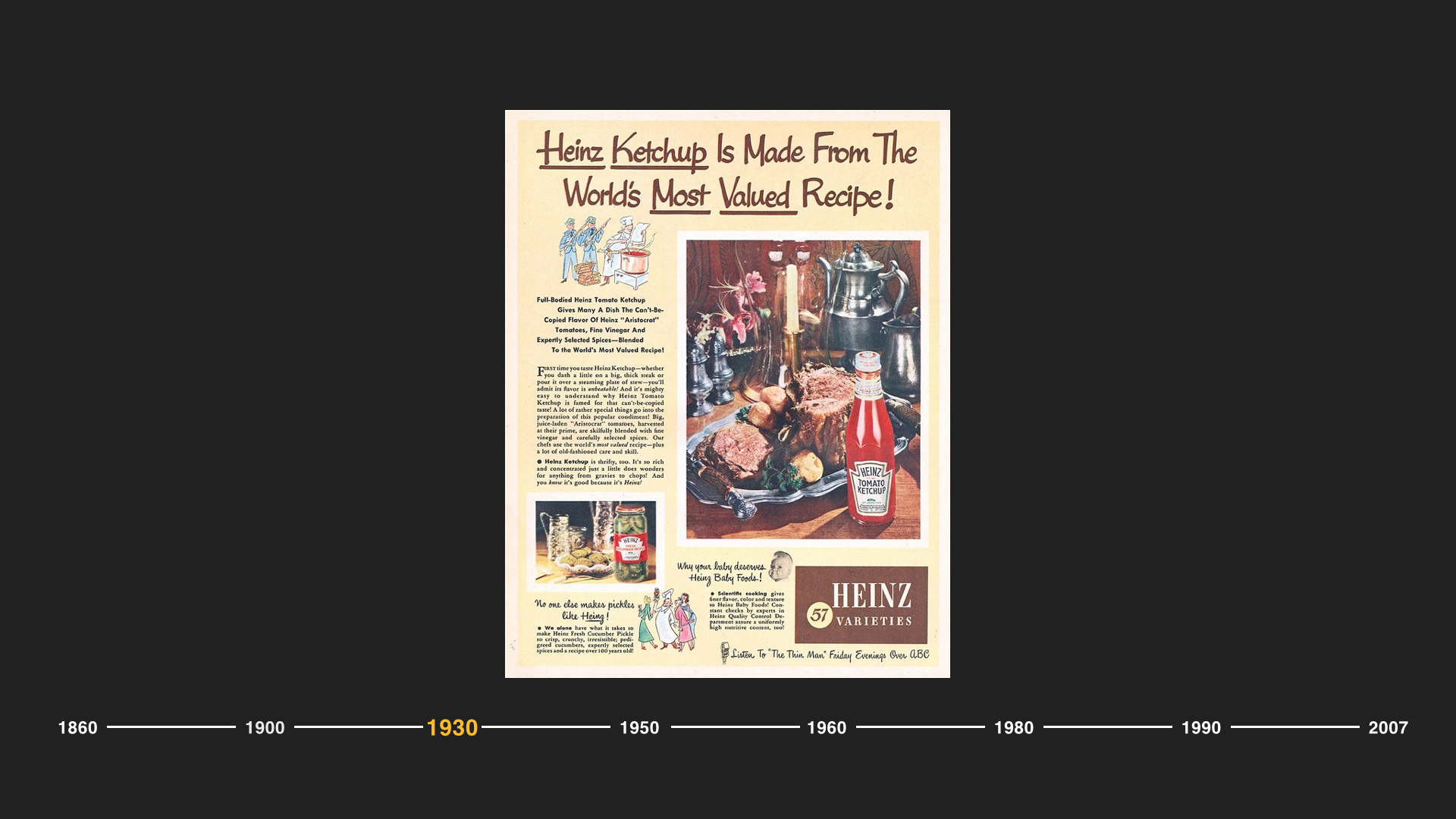 And as the years progressed, Heinz Ketchup would prove to be a great equalizer, a Big Food brand with a special ability to provide something for everyone.  A burger and fries topped with ketchup was a democratic and delicious meal that satisfied the American palette. The Heinz brand understood the American people and their families.