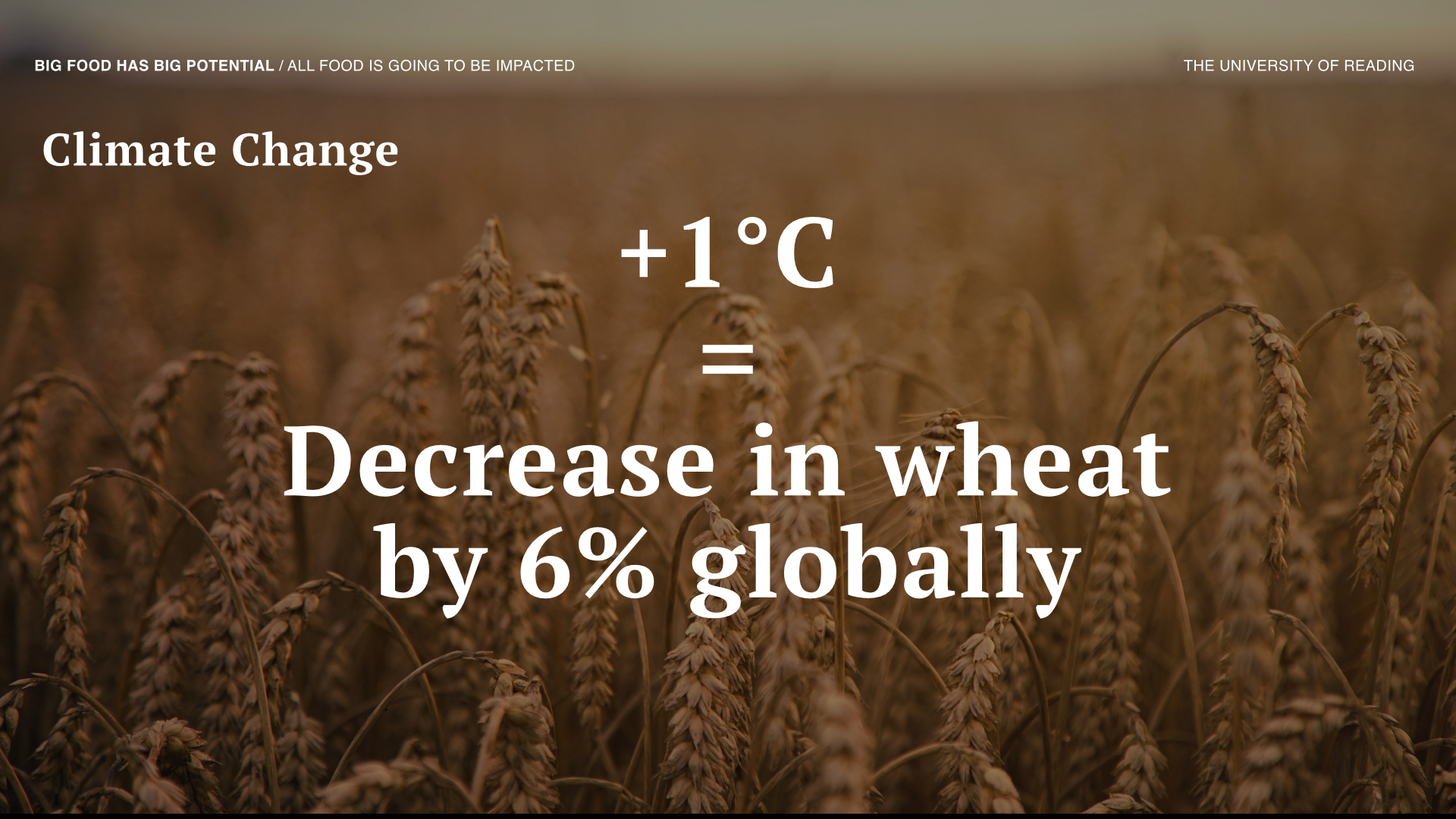 Climate change will affect food production drastically. For every one degree Celsius rise in temperature wheat production will fall by 6% globally.