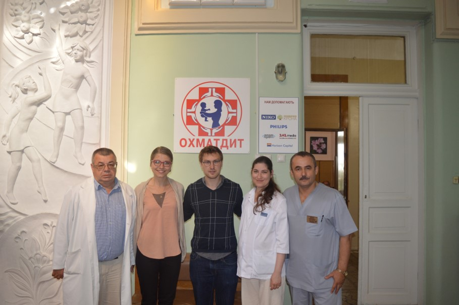 At Okhmatdyt Hospital : Dr Volodomyr Povoroznuk, Nadia Demko, Dr Artem Luhovy, Dr Kristina Dzhuma, Dr Vasyl Prytula ( from left to right)