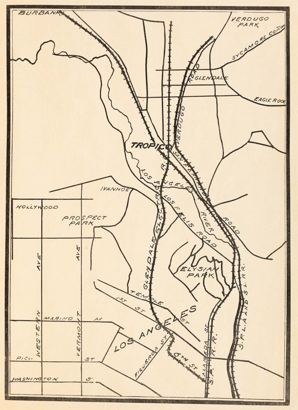 2. Map showing Tropico at a crossroads of rail, both local and national, 1903