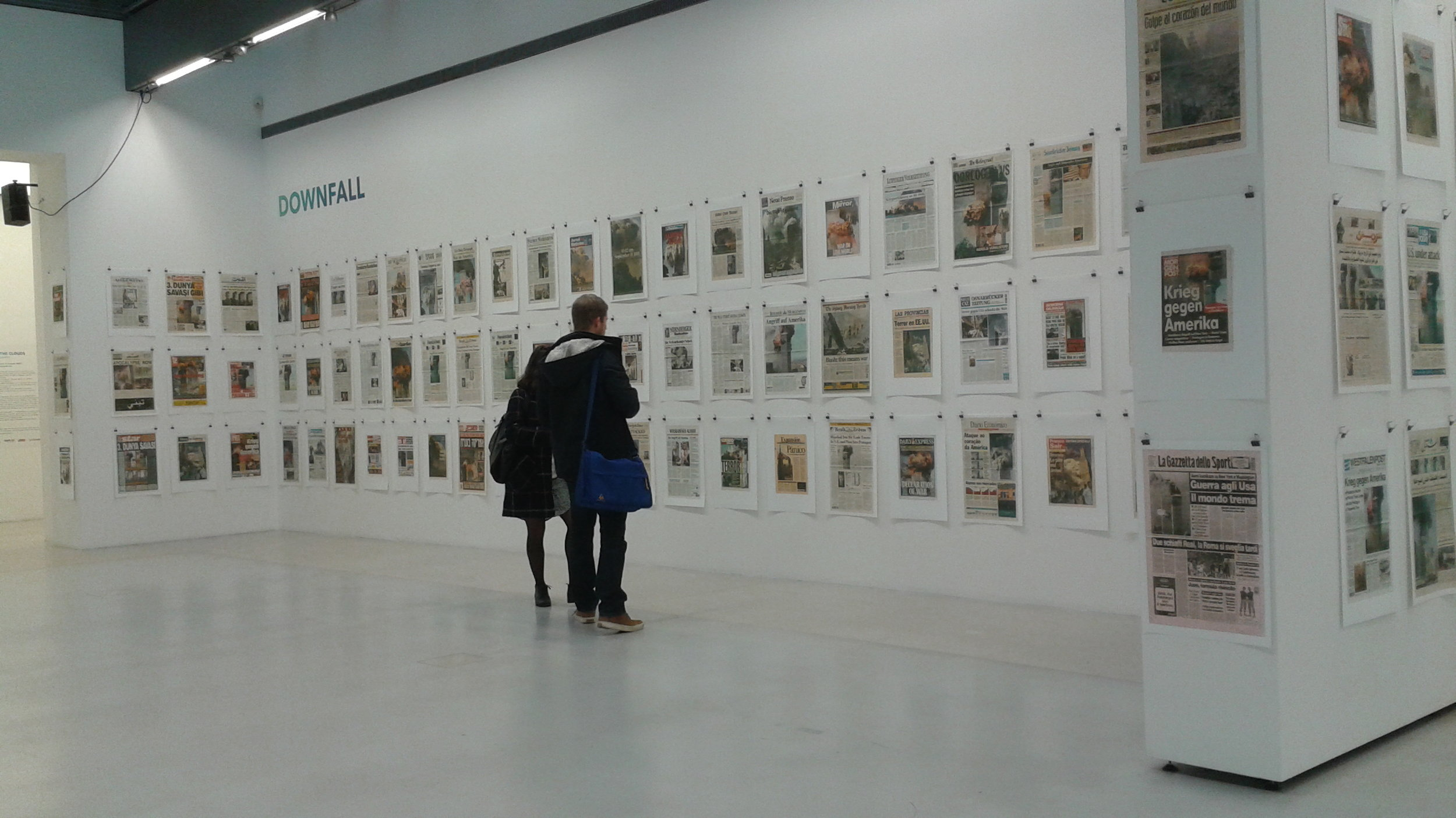 Part of the exhibit included November 2011 front pages from newspapers around the world.