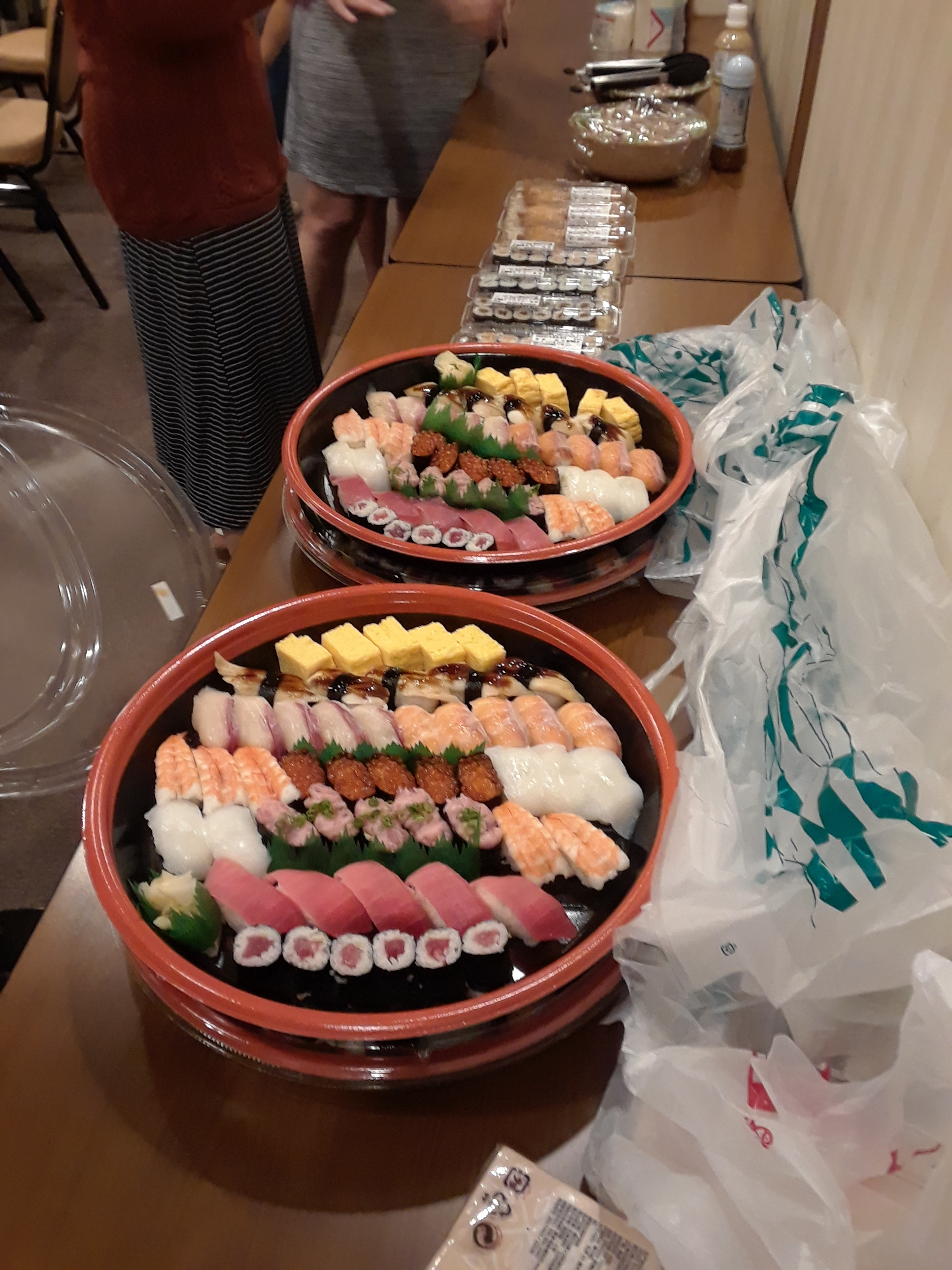 Part of the evening's meal -- not the only time we'd eat pizza and sushi that week. Copyright 2017, Anna Broadway.