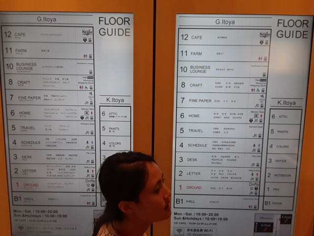 The floor listing inside Itoya.