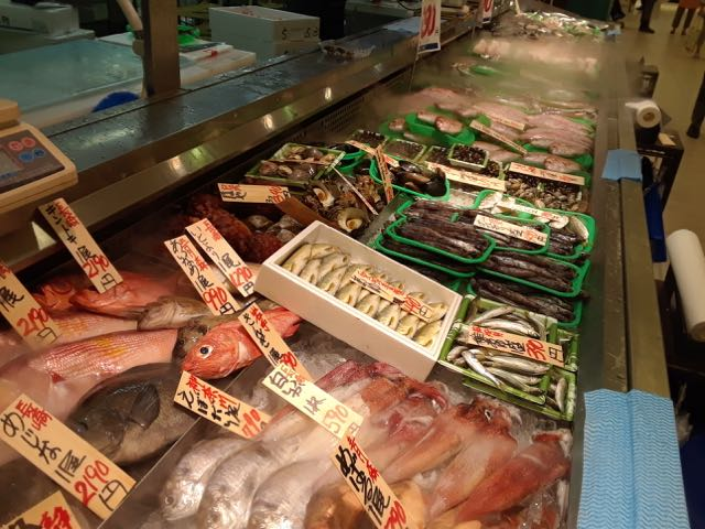 One of the food court stalls offered several kinds of fish.