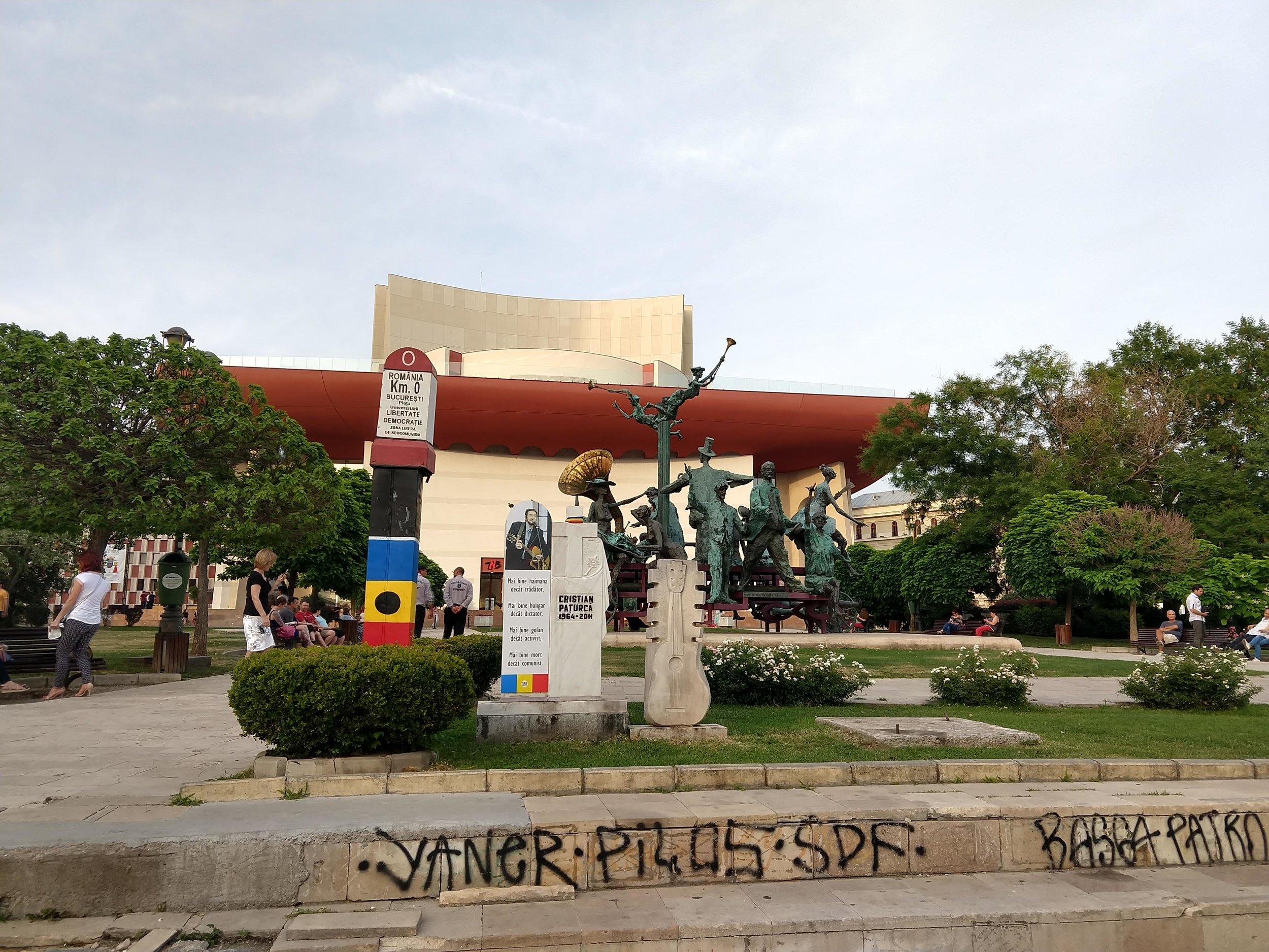 Monument and art sculptures near the site of Bucharest's kilometre zero.