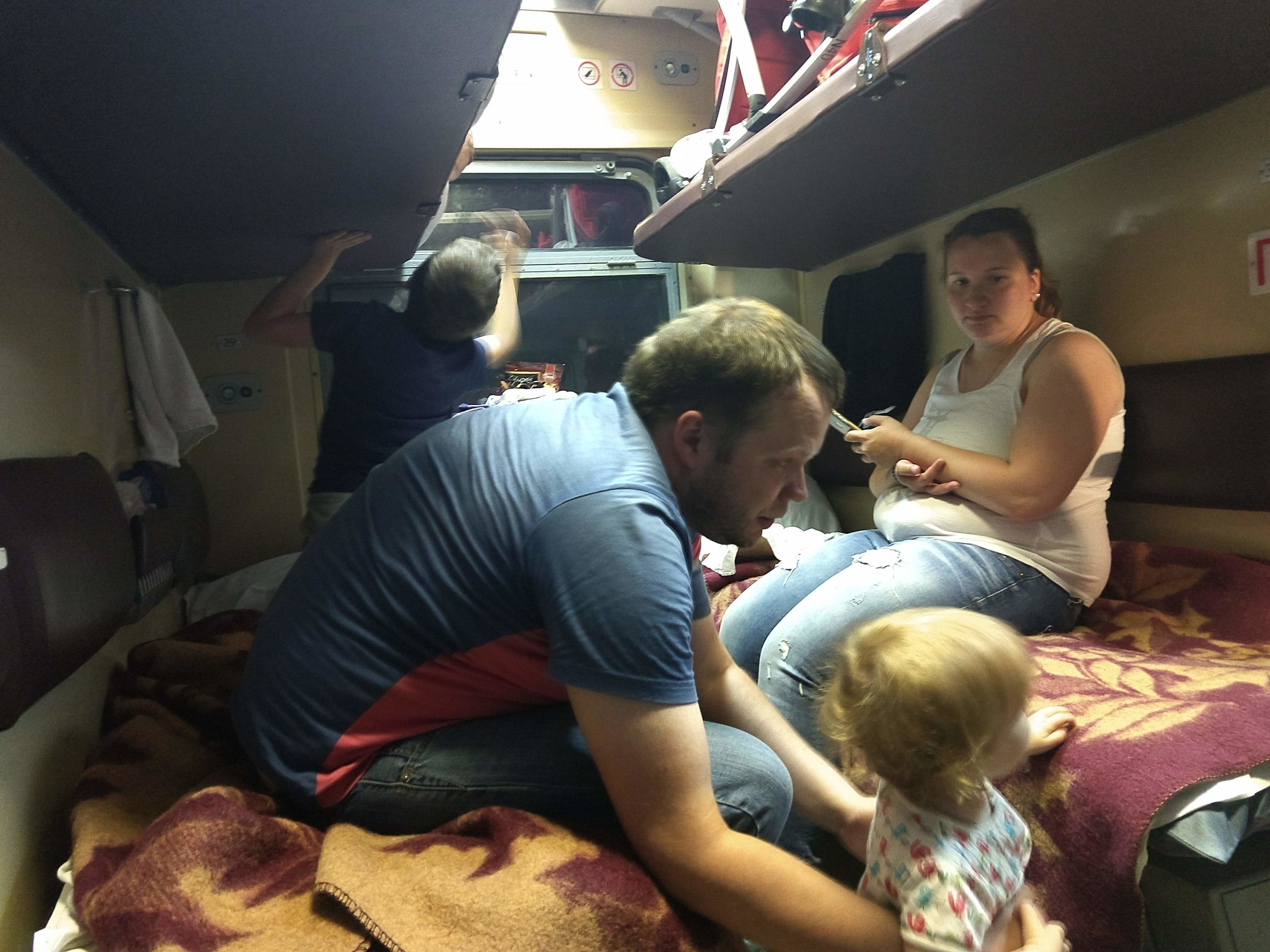 A family settles in for the night.