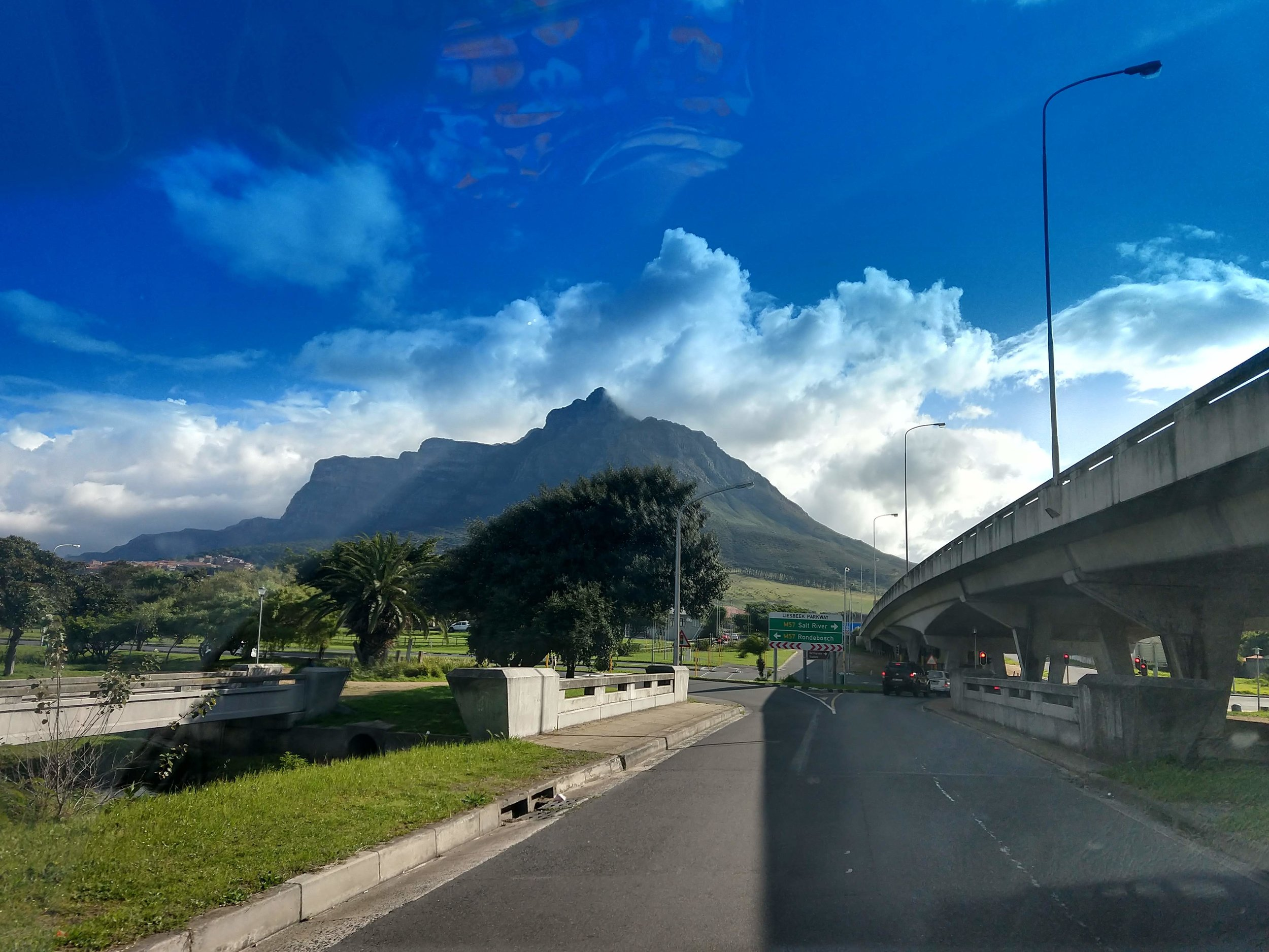 Cape Town's famously rugged mountains, seen from the street.
