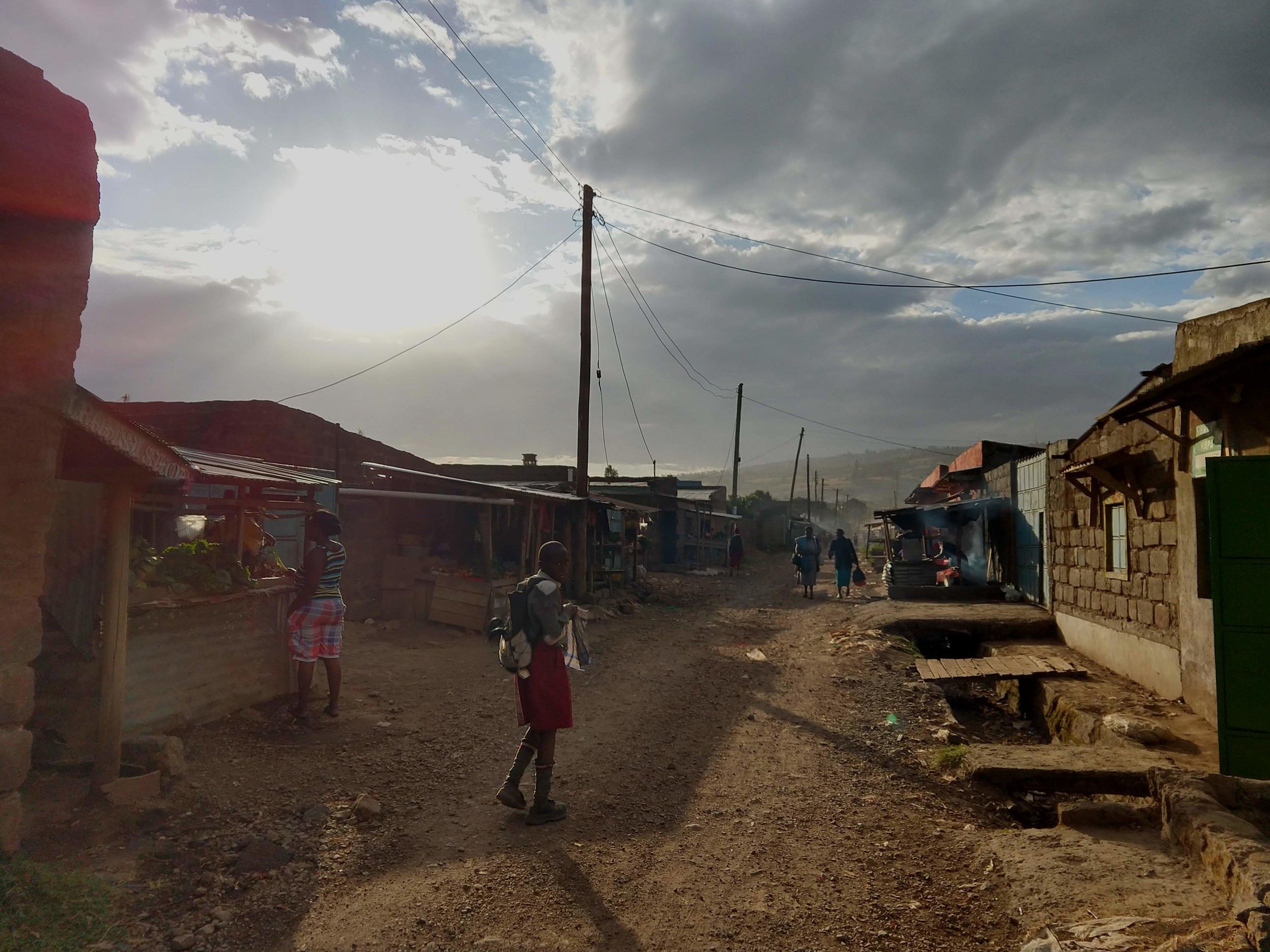 School children walking home one afternoon.