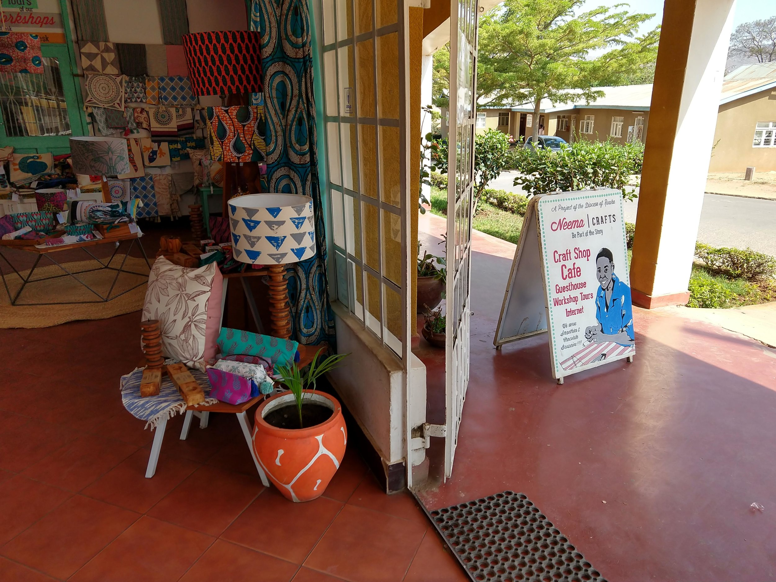 Entrance to Neema's cheerful craft shop.