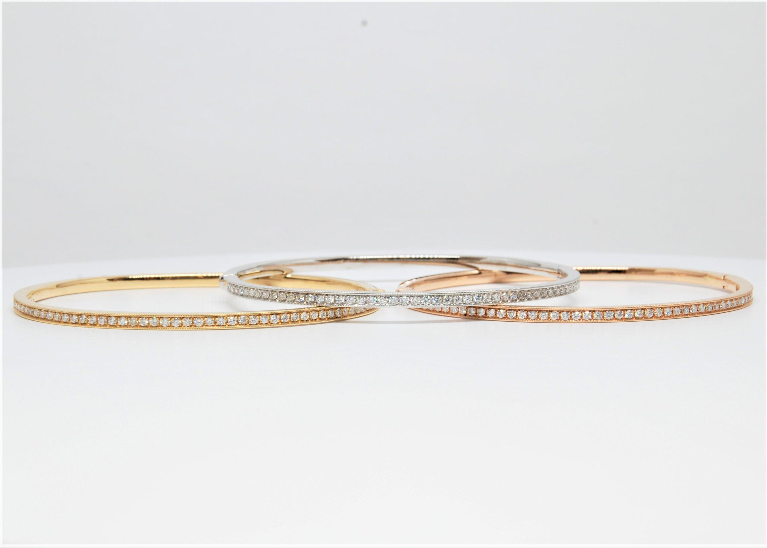 Diamond Bangle Bracelet In 18k White Gold Yellow And Rose Hakimi Gem Imports