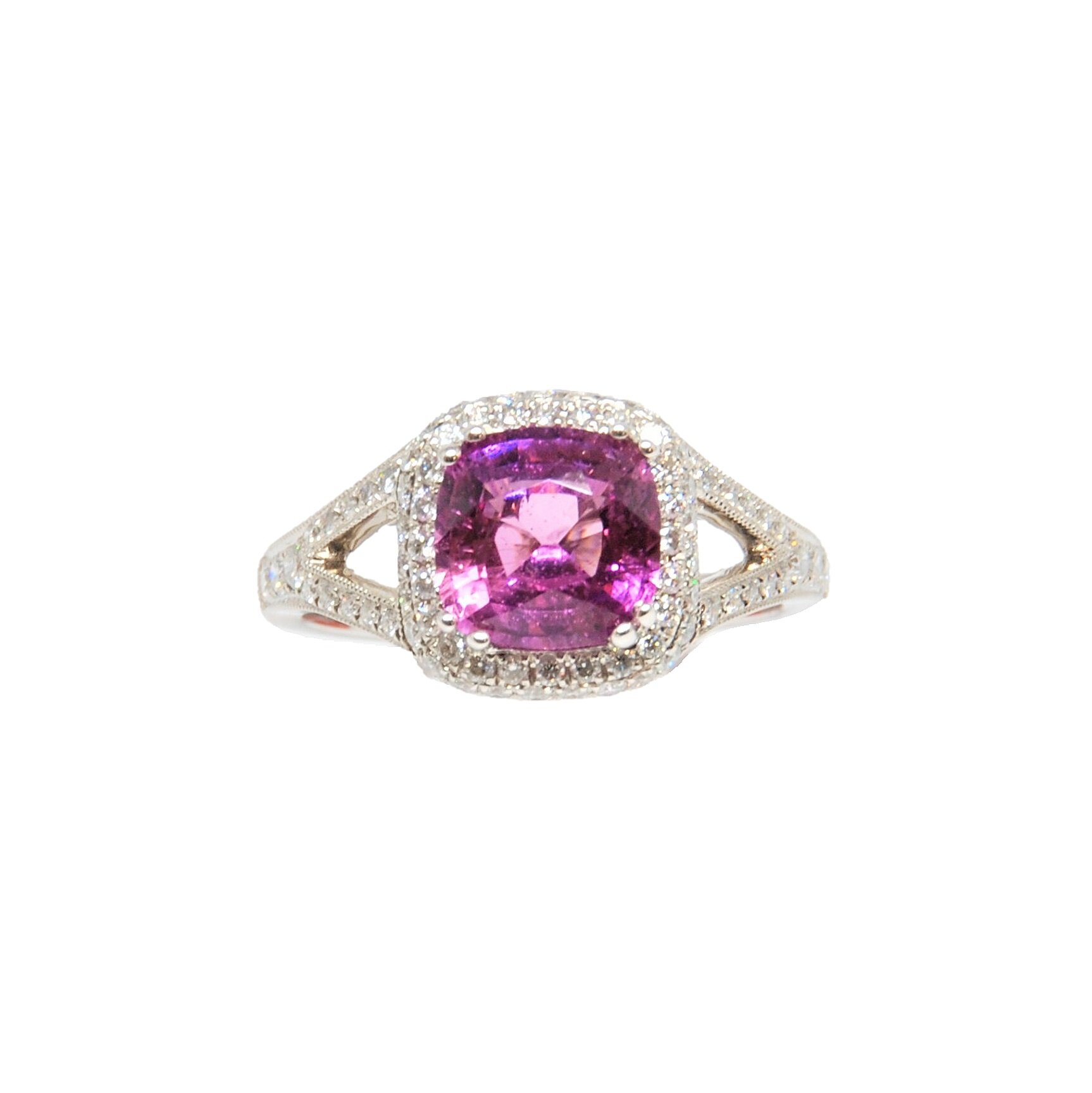 Cushion Shape Pink Sapphire Ring