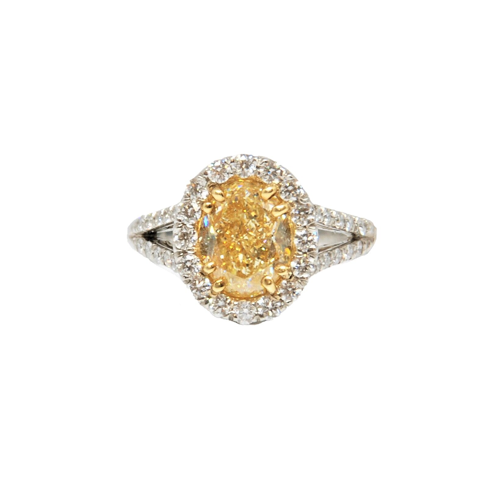 Natural Oval Yellow Diamond Ring