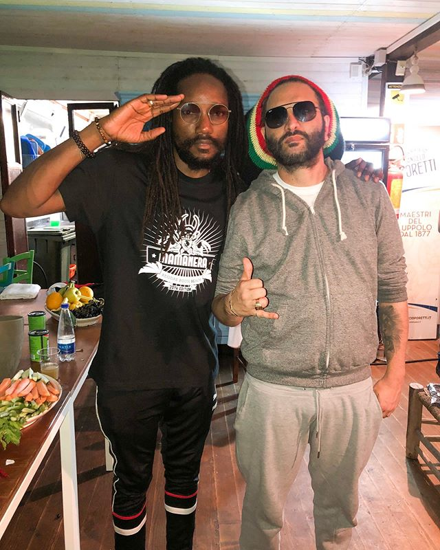I&I and the Italian reggae godfather @alborosieofficial celebrating 20 years of #Mamanera with @heavyhammersound inna #Salento #Italy