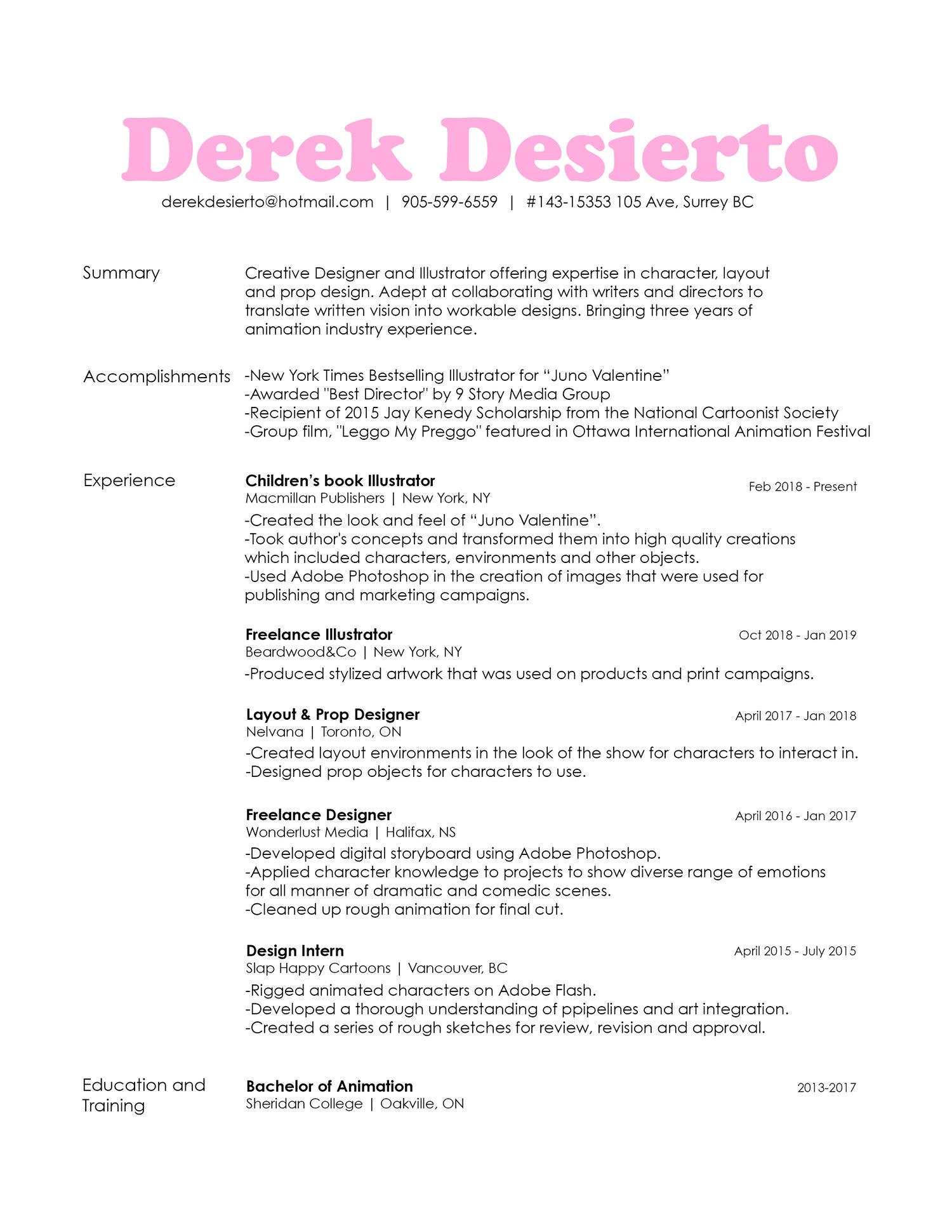 Resumegallery Derek Desierto