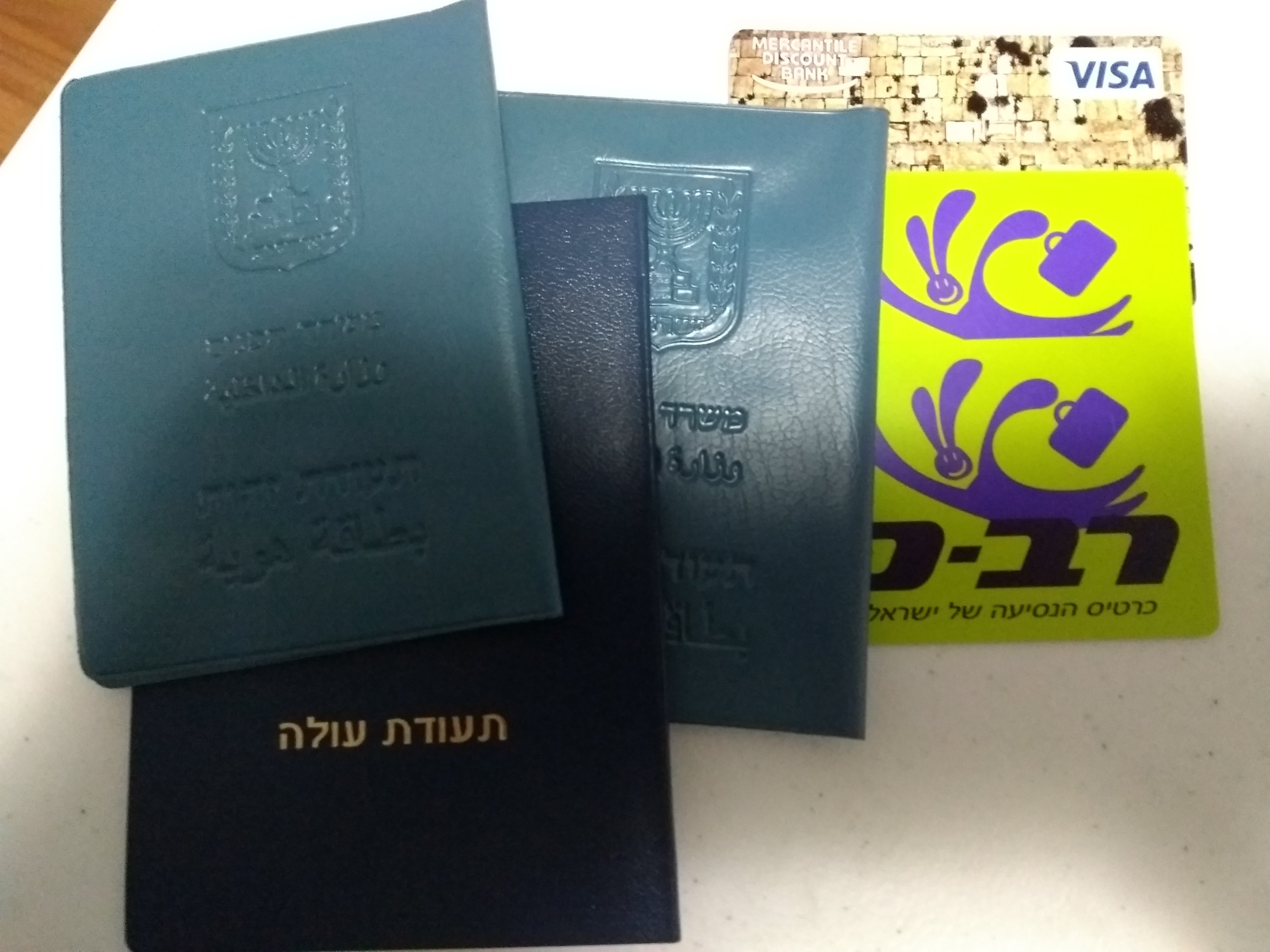 Our Tehudat Zehuts, Tehudat Oleh, Kotel 😁credit card, and Rav Kav cards