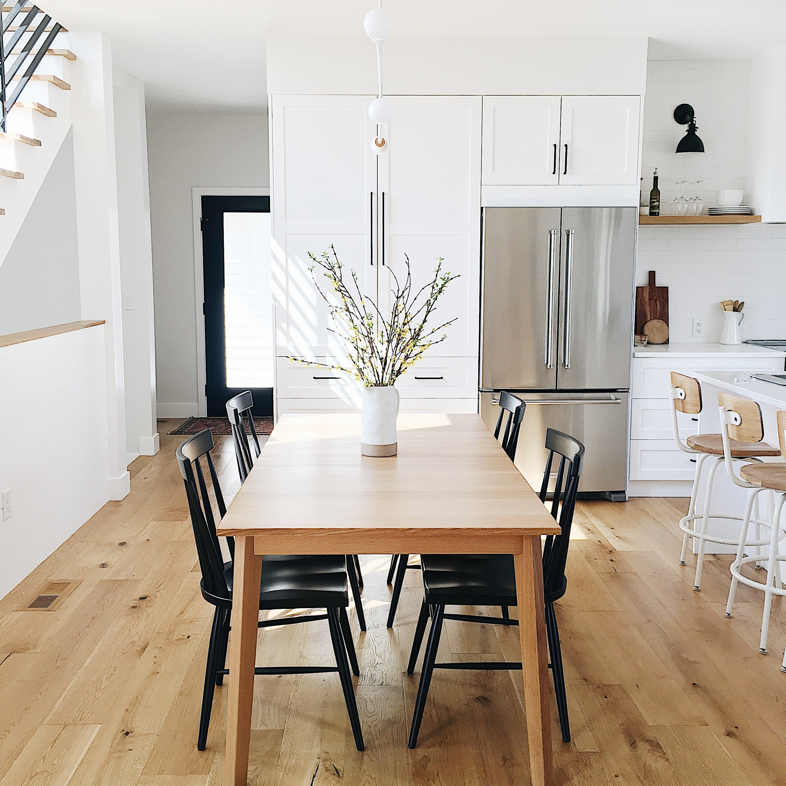 d i n i n g - The dining room is essentially an extension of the kitchen and living room, making it a very transitional space that is perfect for daily use as well as larger gatherings in which the table can be expanded to fit at least 10 guests.