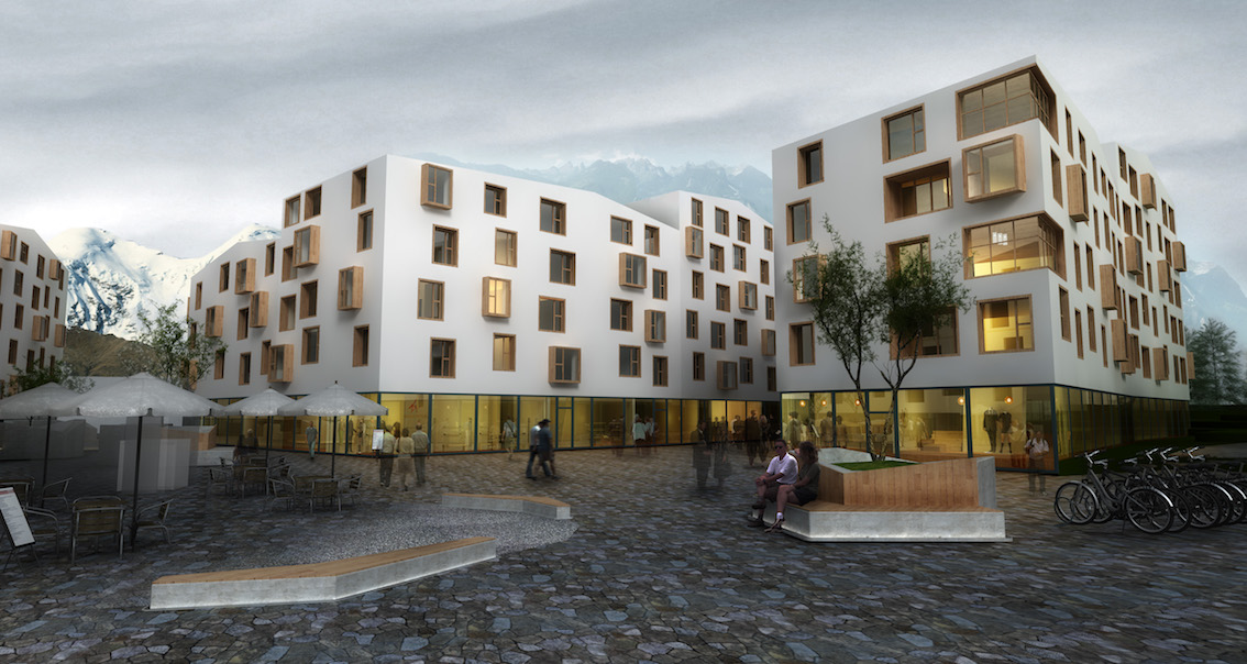 Mixed Use Development of  residential apartments and commercial center, Sous-le-bourg a aigle
