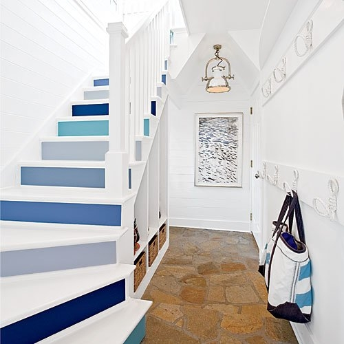 Beautiful Blue Painted Stairs