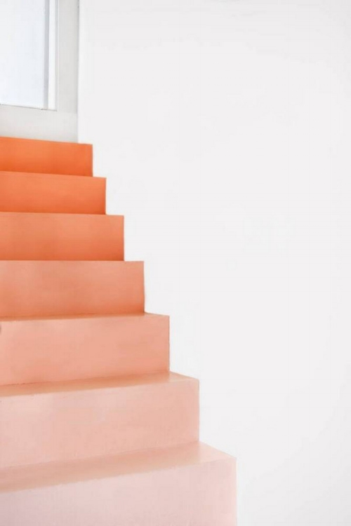 Coral Ombre Painted Stairs