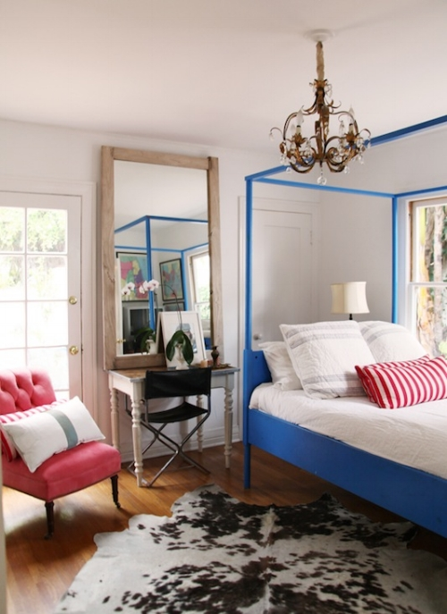 Blue Wrought Iron Bed
