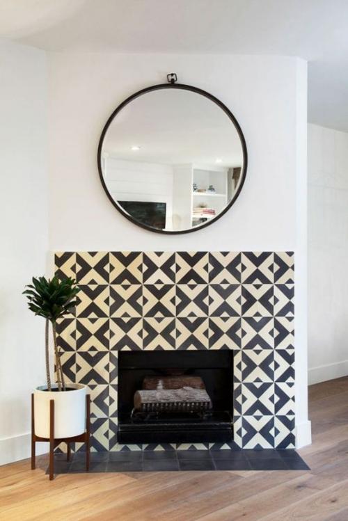 Tiled Fireplace Backsplash