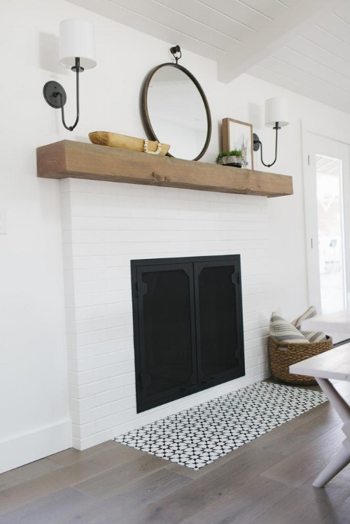 Painted and Tiled Fireplace