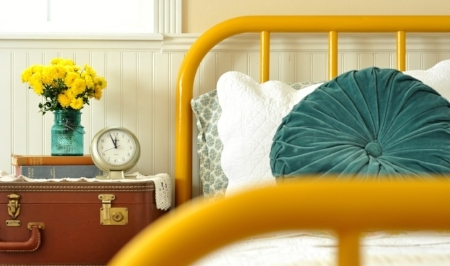 Yellow Painted Wrought Iron Bed Frame