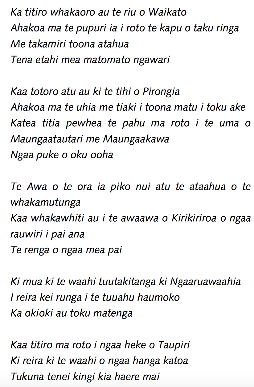 Tawhiao's lament for the Waikato
