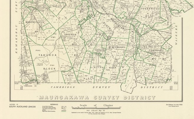 Maungakawa Survey showing boundaries of Iwi Land in green.