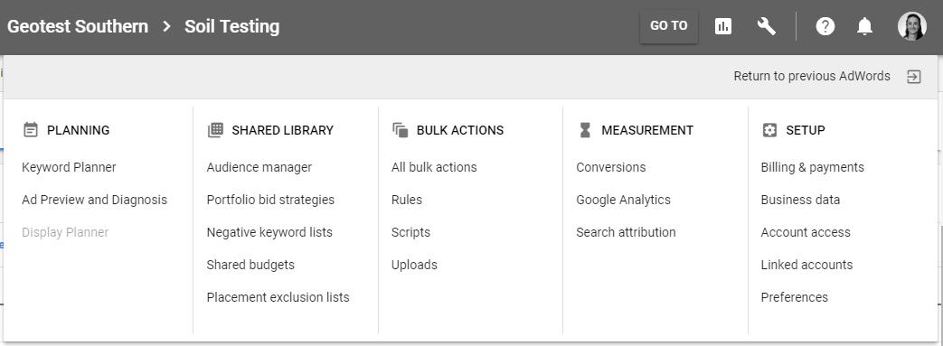 Adwords keyword planner menu.PNG