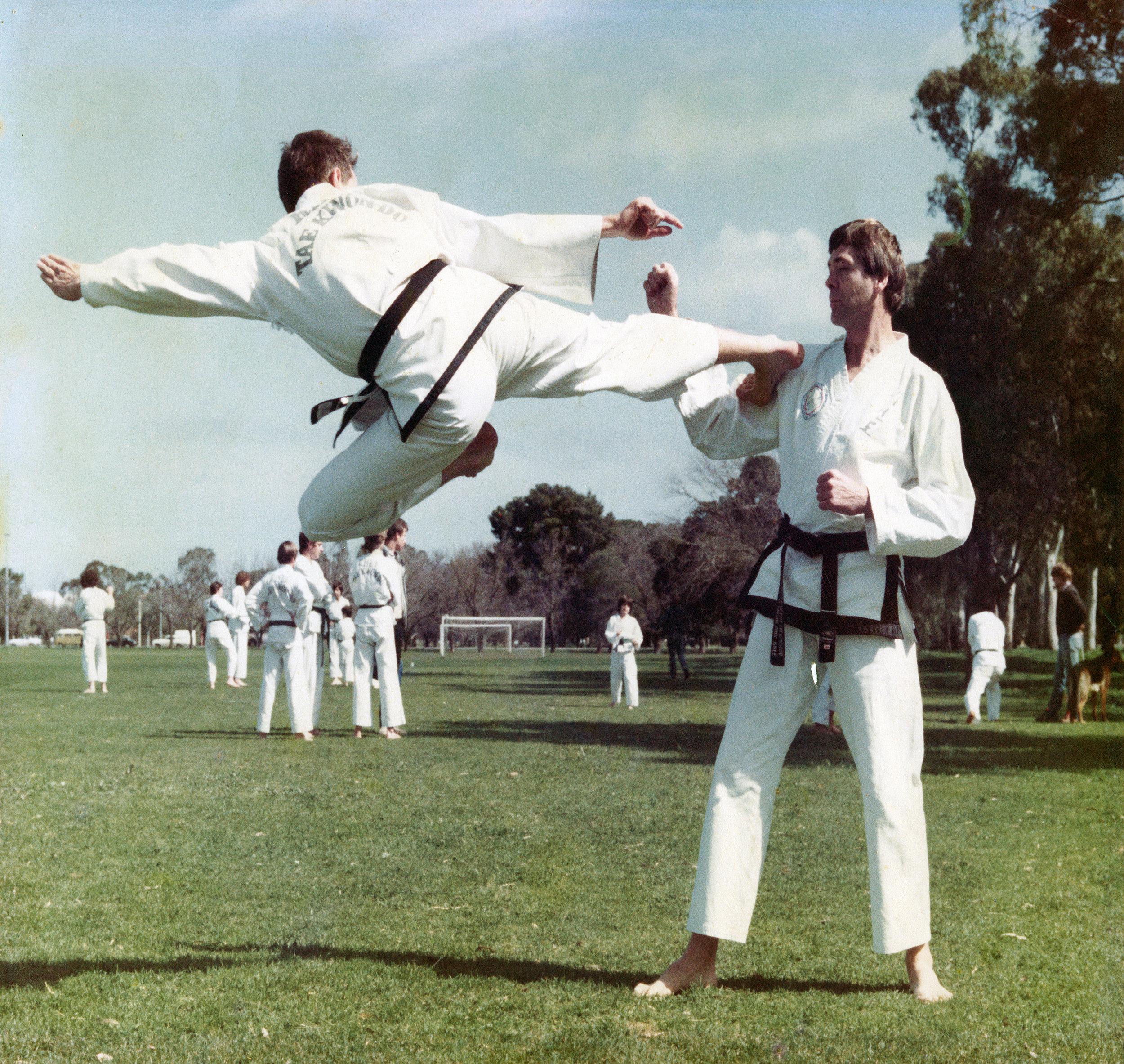 That's me performing a flying side-kick 1983