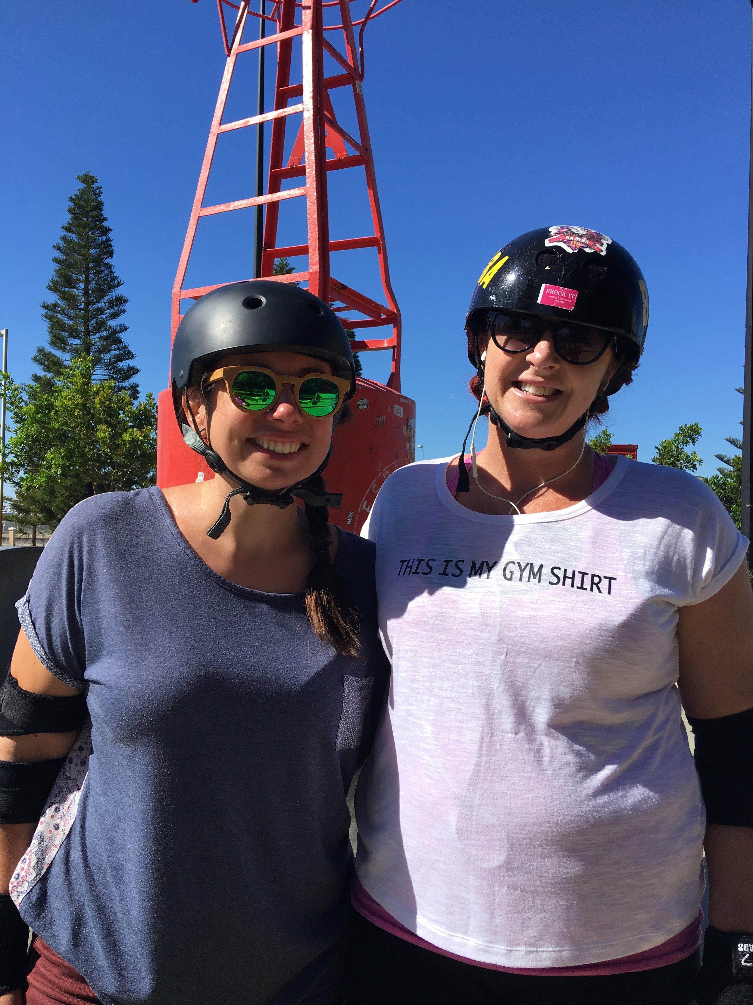 Bamba and Bonda rockin' Freo Skate Park on roller skates