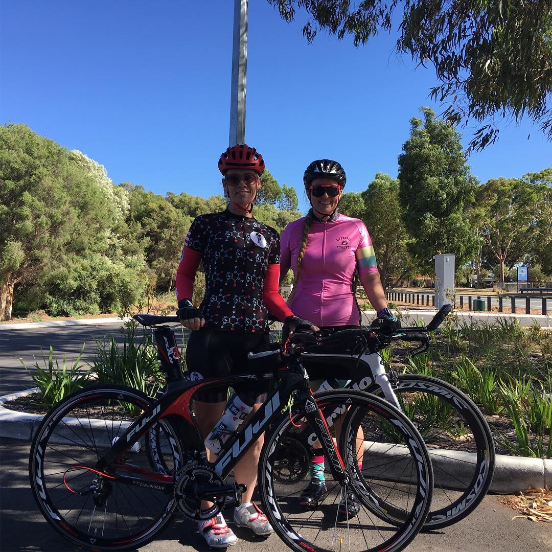 At the end of a 60km ride, Kylie (left) and Georgie.