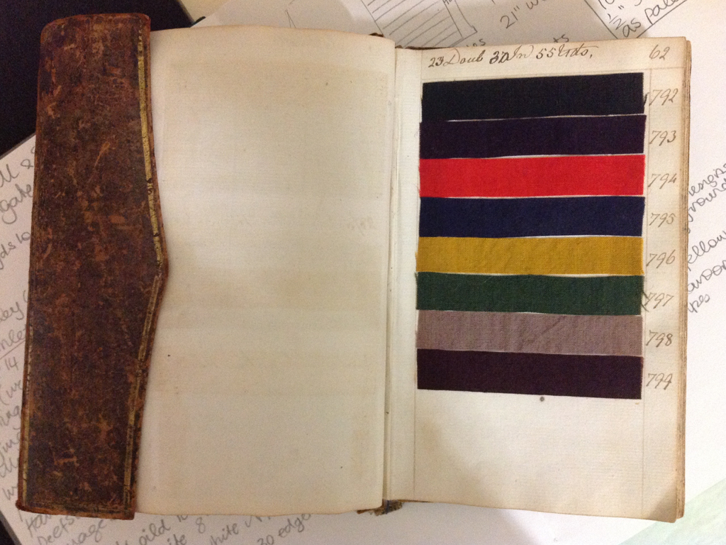 Specialising in weave and dyeing, I visited the Costume & Textile Study Centre as part of my research for various projects. It was there that I fell in love with the Norwich pattern books filled with colourful 18th century worsted samples.  image courtesy Norfolk Museum Services